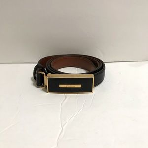 St. John Vintage Black Leather Logo Belt